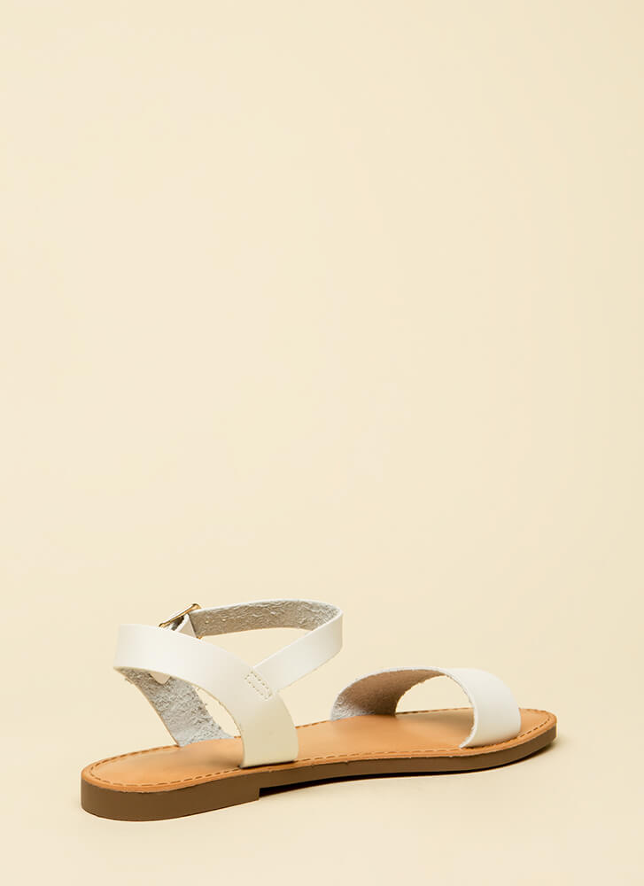 Ready To Go Faux Leather Sandals WHITE
