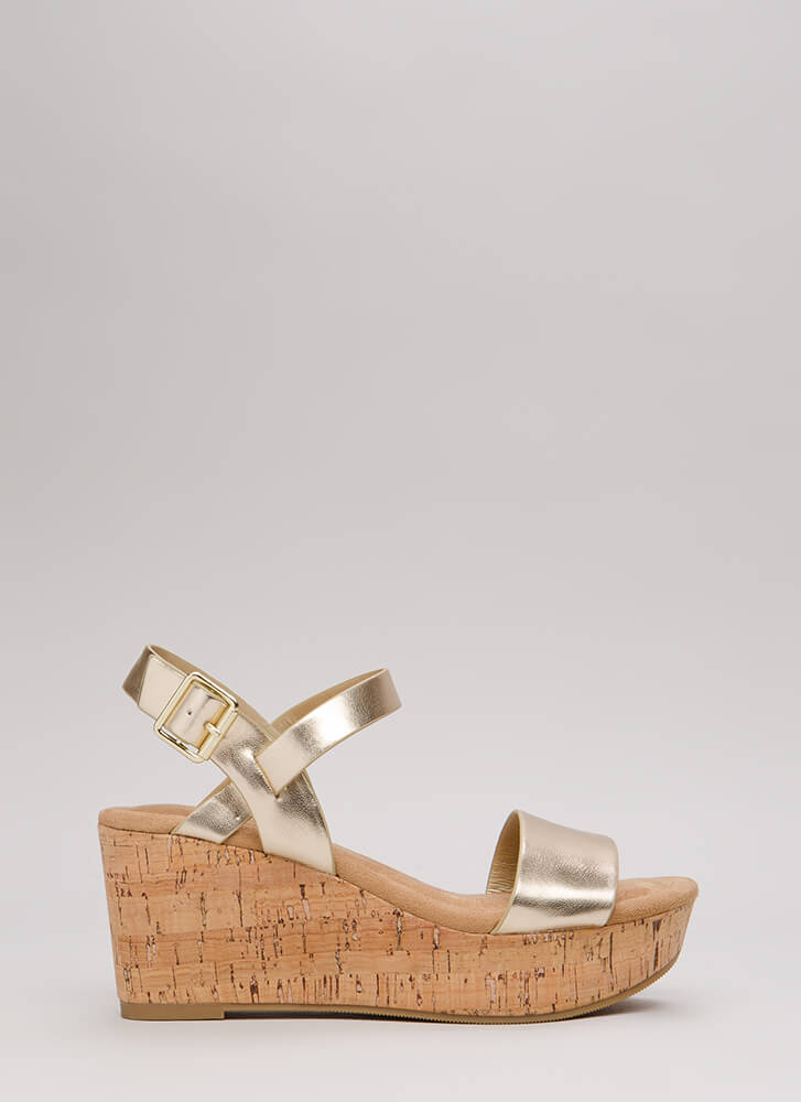 Put A Cork In It Metallic Wedges LTGOLD