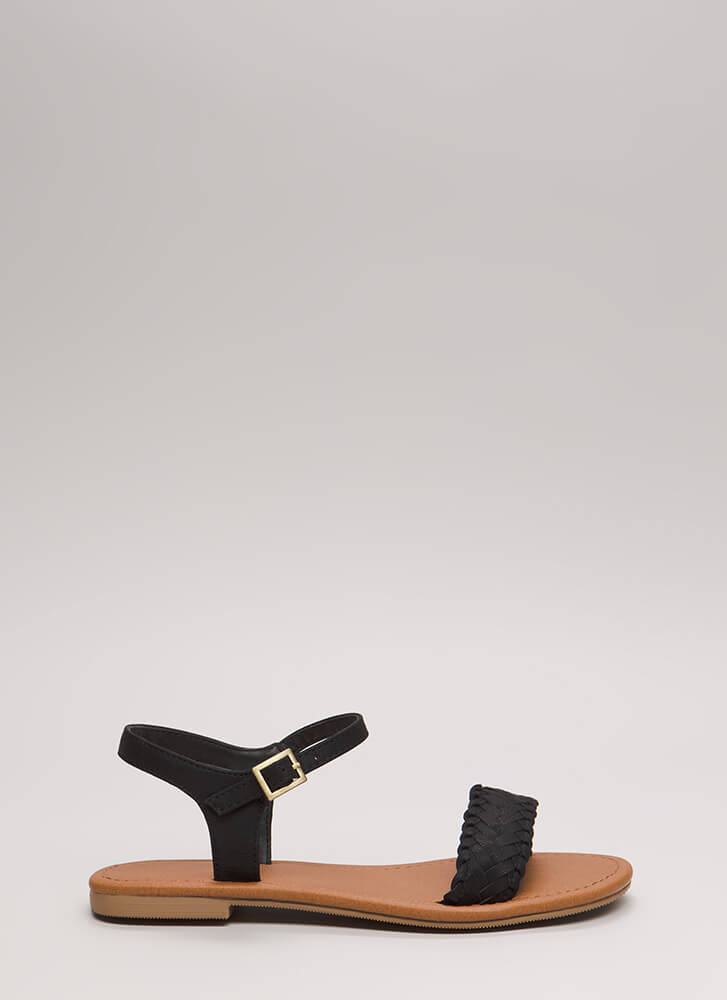 Weekend Life Woven Strap Sandals BLACK