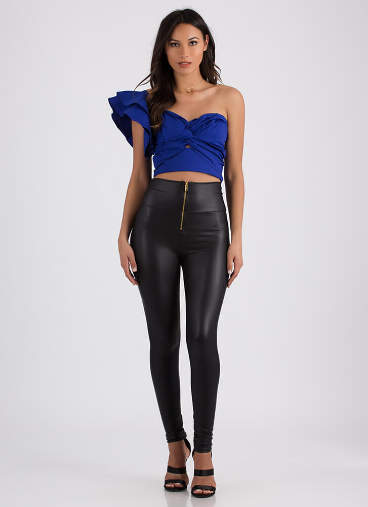 This Is Art Tied Asymmetrical Crop Top ROYAL (Final Sale)