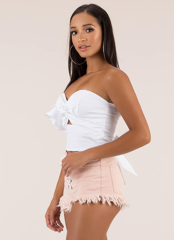 This Is Art Tied Asymmetrical Crop Top WHITE (Final Sale)