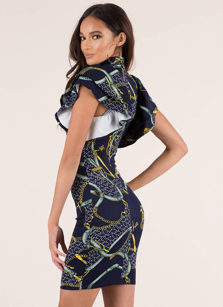 Straps And Chains Ruffled Print Dress NAVY