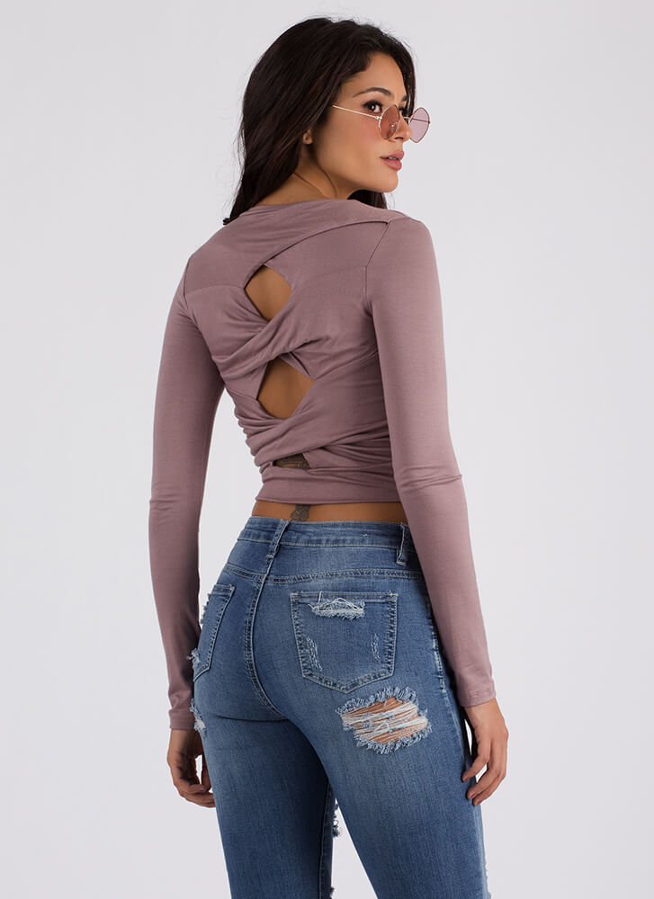 Back With A Twist Cut-Out Crop Top WOODROSE