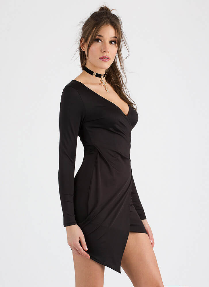 Pick Me Asymmetrical Faux Wrap Dress BLACK
