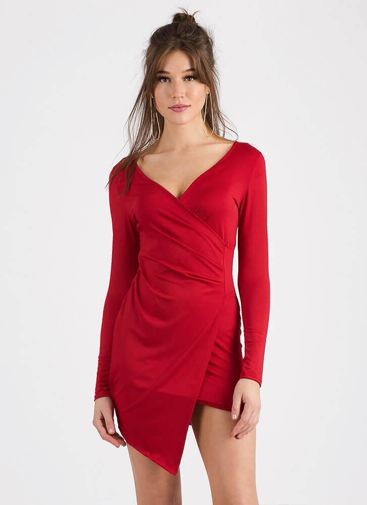 Pick Me Asymmetrical Faux Wrap Dress RED