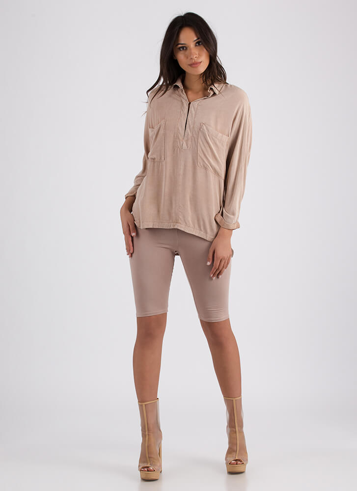 Casual Relationship Pocketed Tunic Top BLUSH