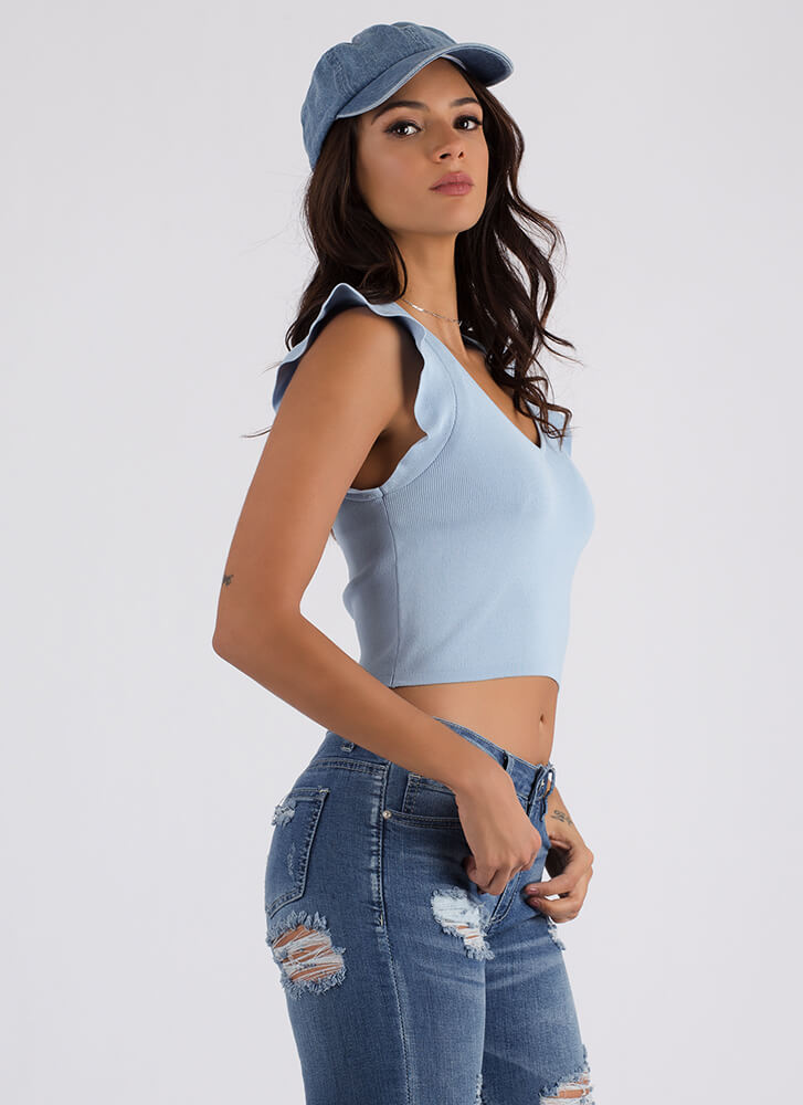 Have A Good Day Ruffled Knit Crop Top BABYBLUE (Final Sale)