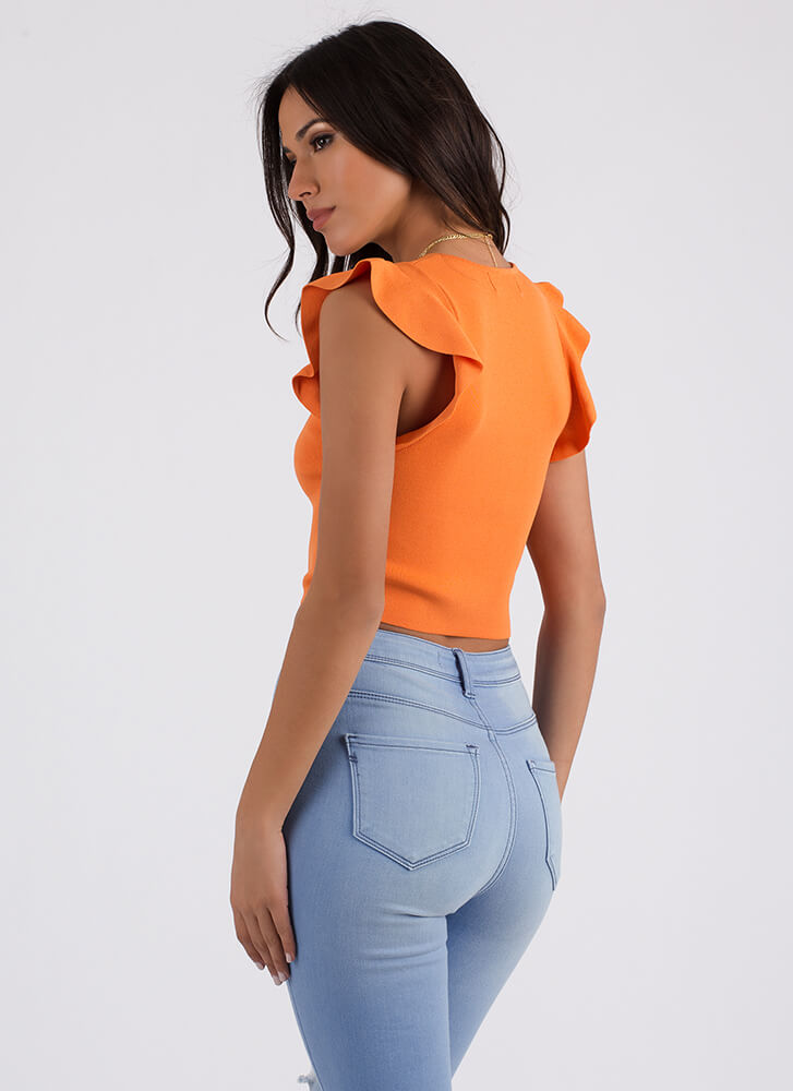 Have A Good Day Ruffled Knit Crop Top ORANGE (Final Sale)