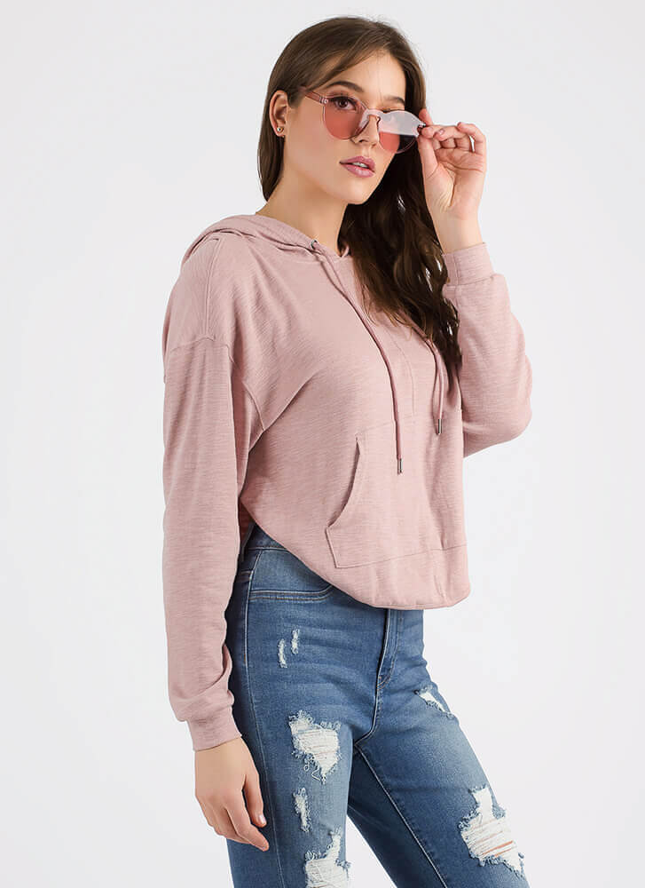 Sport This Layered Open-Back Hoodie ROSE