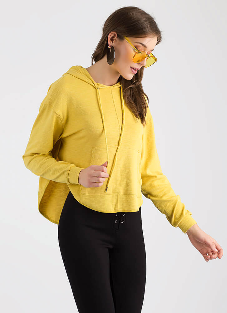 Sport This Layered Open-Back Hoodie YELLOW