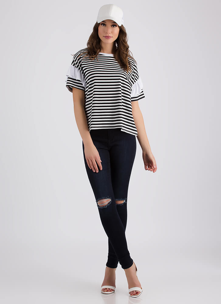 Staying Striped Ruffled Sleeve Tee BLACKWHITE