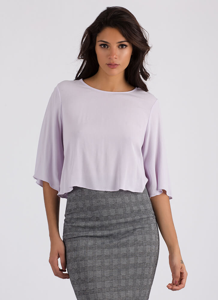 Split Take Flowy Tie-Back Crop Top LAVENDER