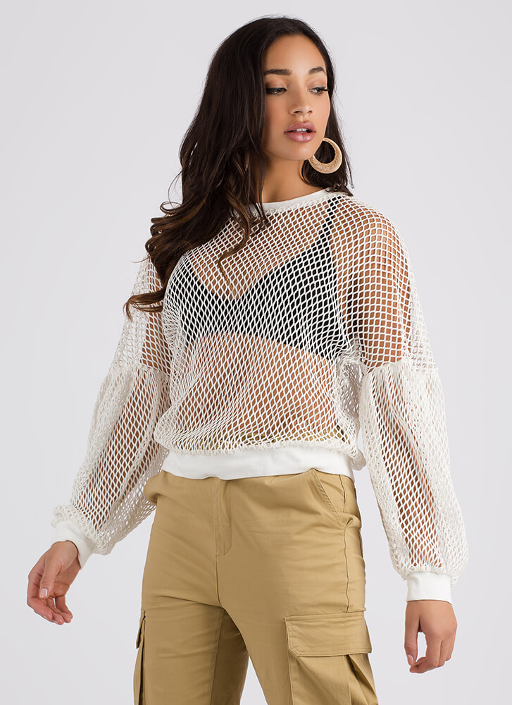 Bomb Dot Net Puffy Sleeve Sweater WHITE