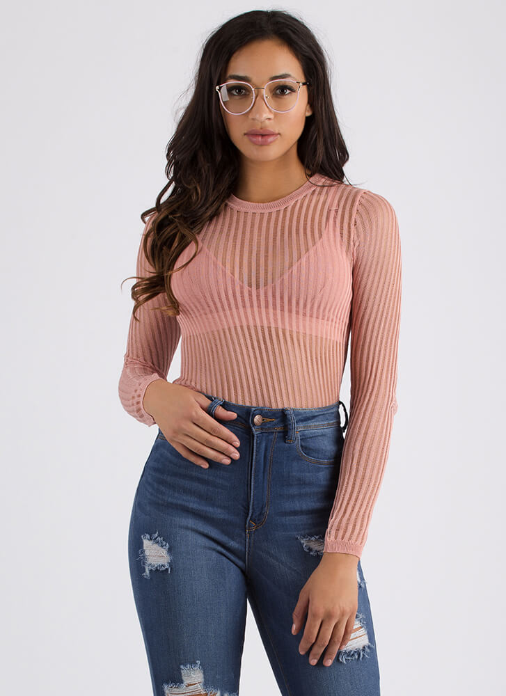 In My Shadow Mesh Striped Knit Top ROSE