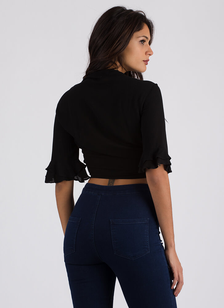 Can't Tie Me Down Bell Sleeve Crop Top BLACK