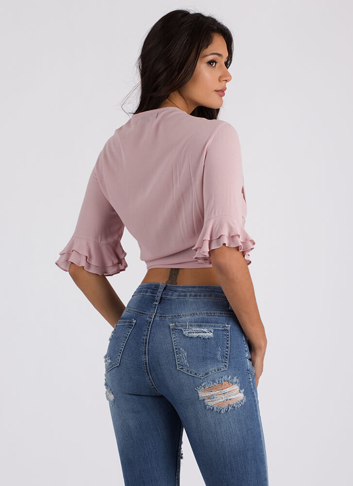 Can't Tie Me Down Bell Sleeve Crop Top MAUVE