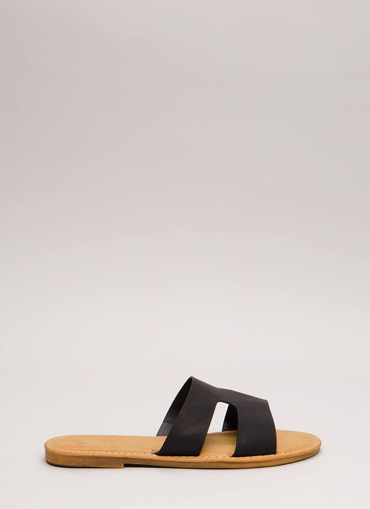 Fun Day Out Cut-Out Slide Sandals BLACK