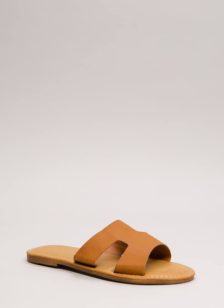 Fun Day Out Cut-Out Slide Sandals TAN