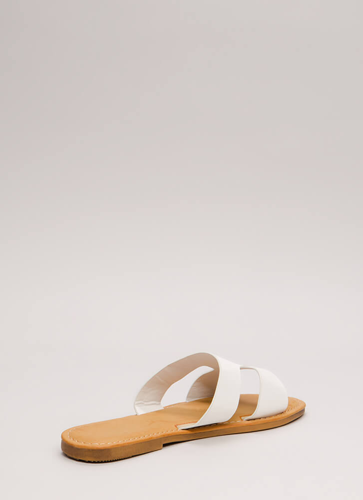 Fun Day Out Cut-Out Slide Sandals WHITE