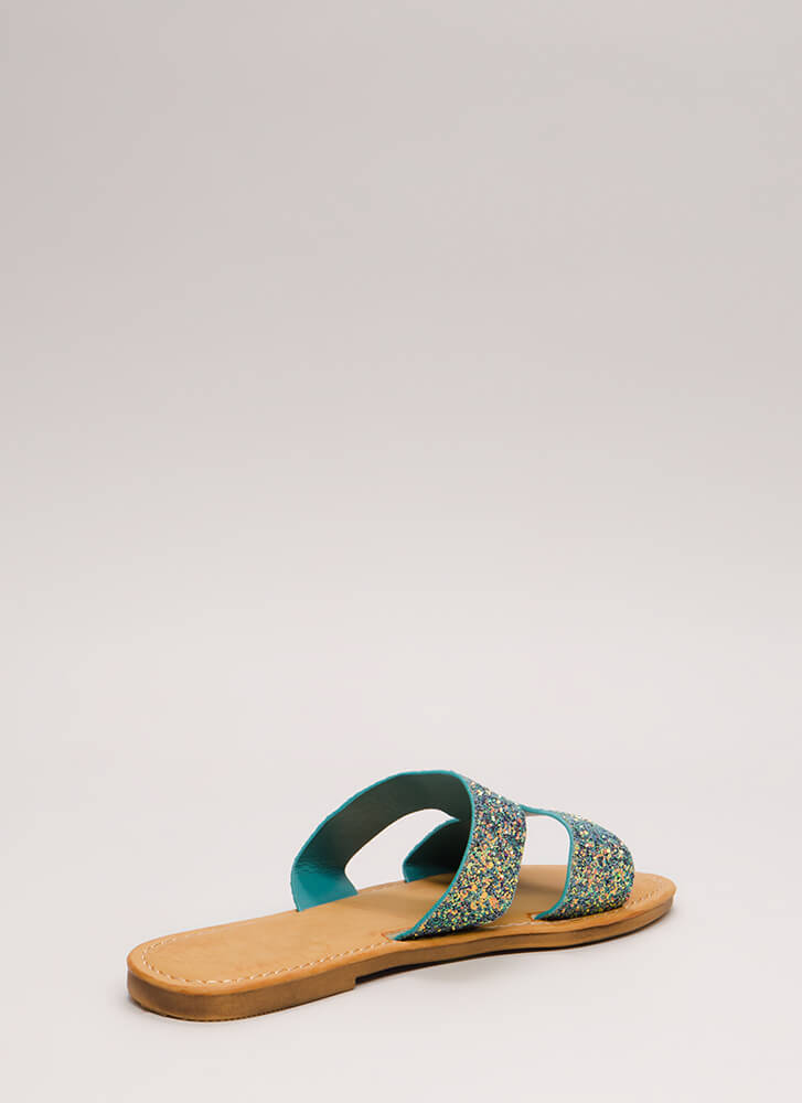 Fun Day Out Glittery Slide Sandals BLUE