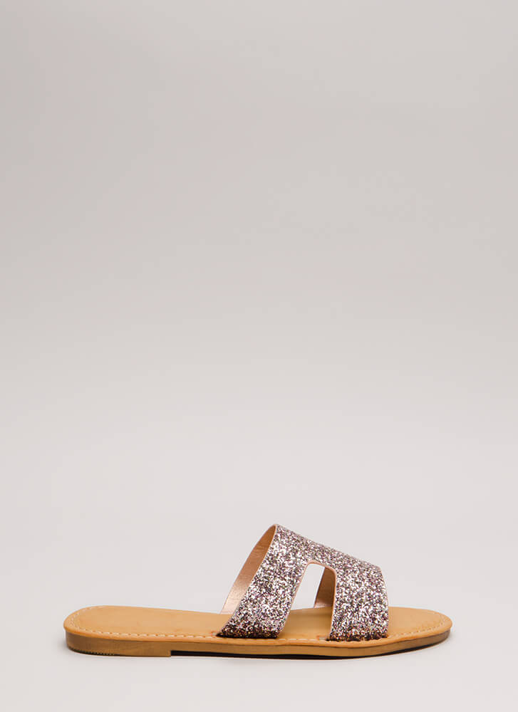 Fun Day Out Glittery Slide Sandals BLUSH
