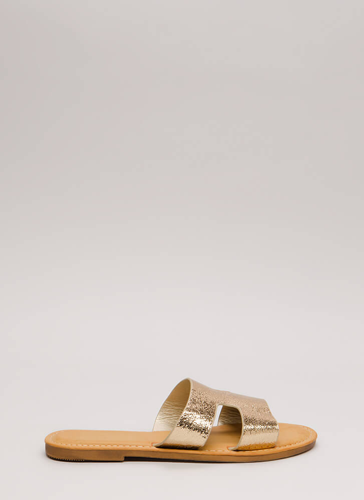 Fun Day Out Metallic Slide Sandals GOLD