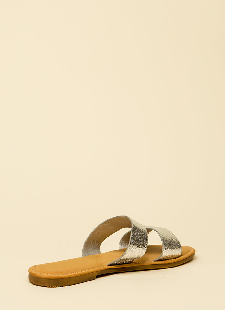 Fun Day Out Metallic Slide Sandals SILVER
