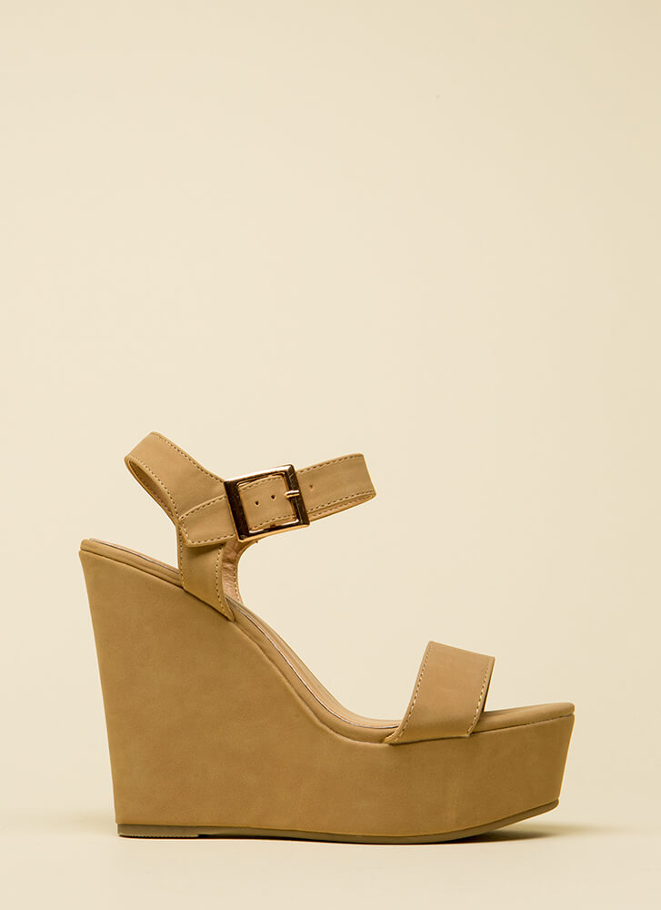 Raise Me Up Faux Nubuck Platform Wedges NATURAL