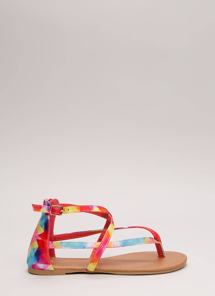 Are You Strappy Now Rainbow Sandals MULTI
