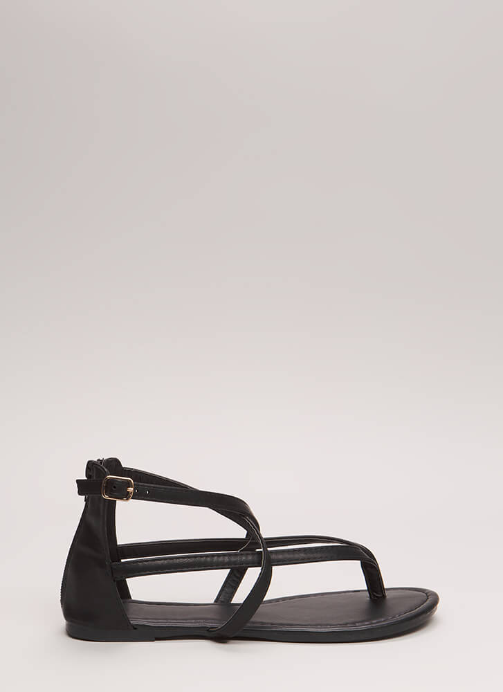 Are You Strappy Now Caged Sandals BLACK
