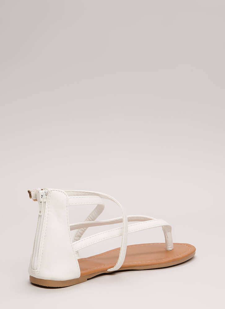 Are You Strappy Now Caged Sandals WHITE