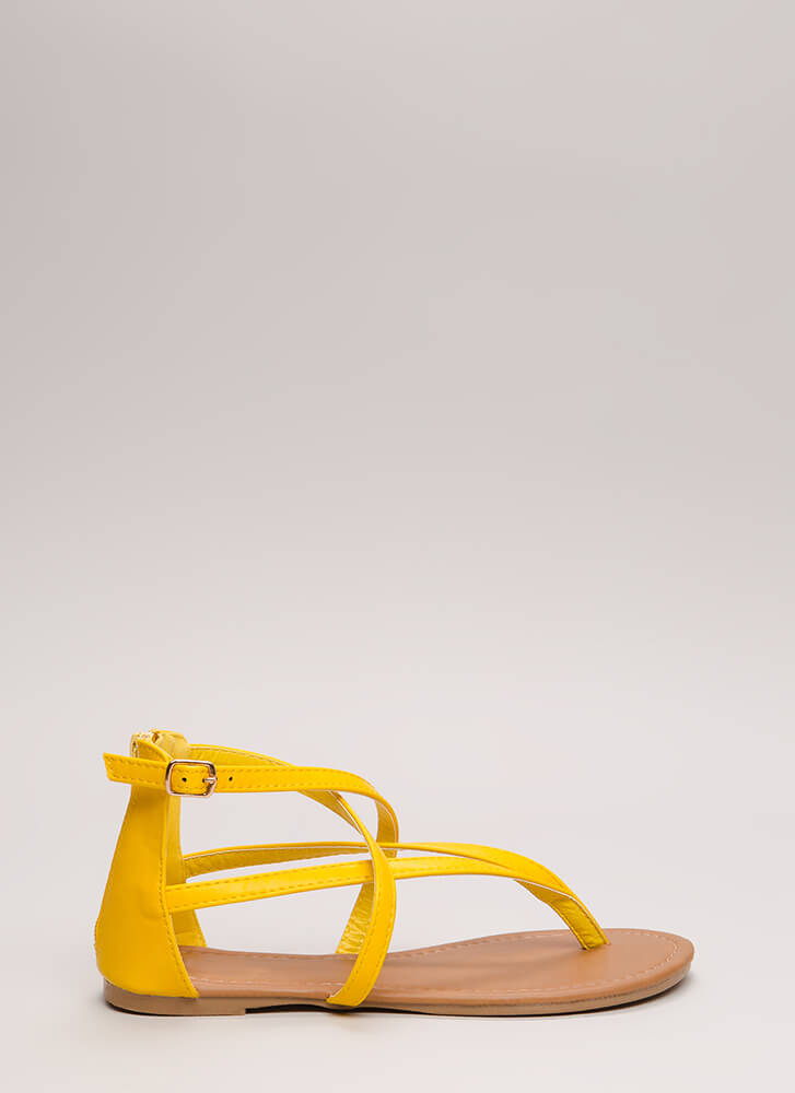 Are You Strappy Now Caged Sandals YELLOW