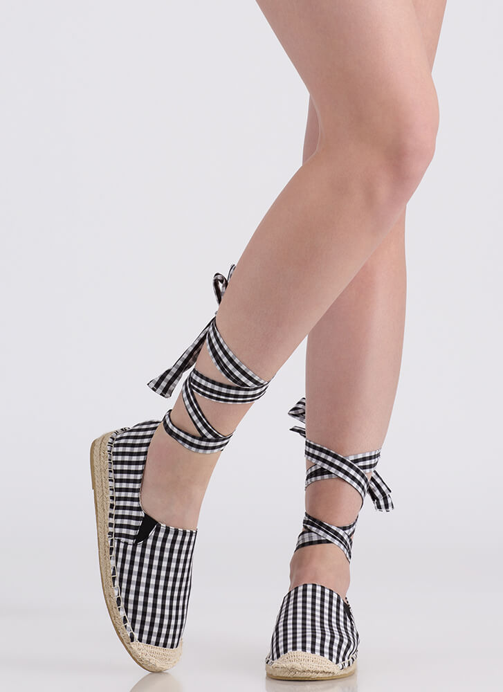 To Tie For Gingham Espadrille Flats BLACKWHITE (You Saved $13)