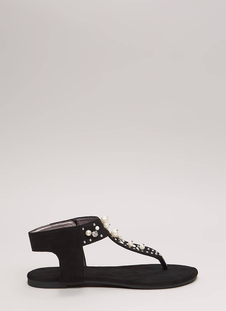 Pretty In Pearls Jeweled Cut-Out Sandals BLACK