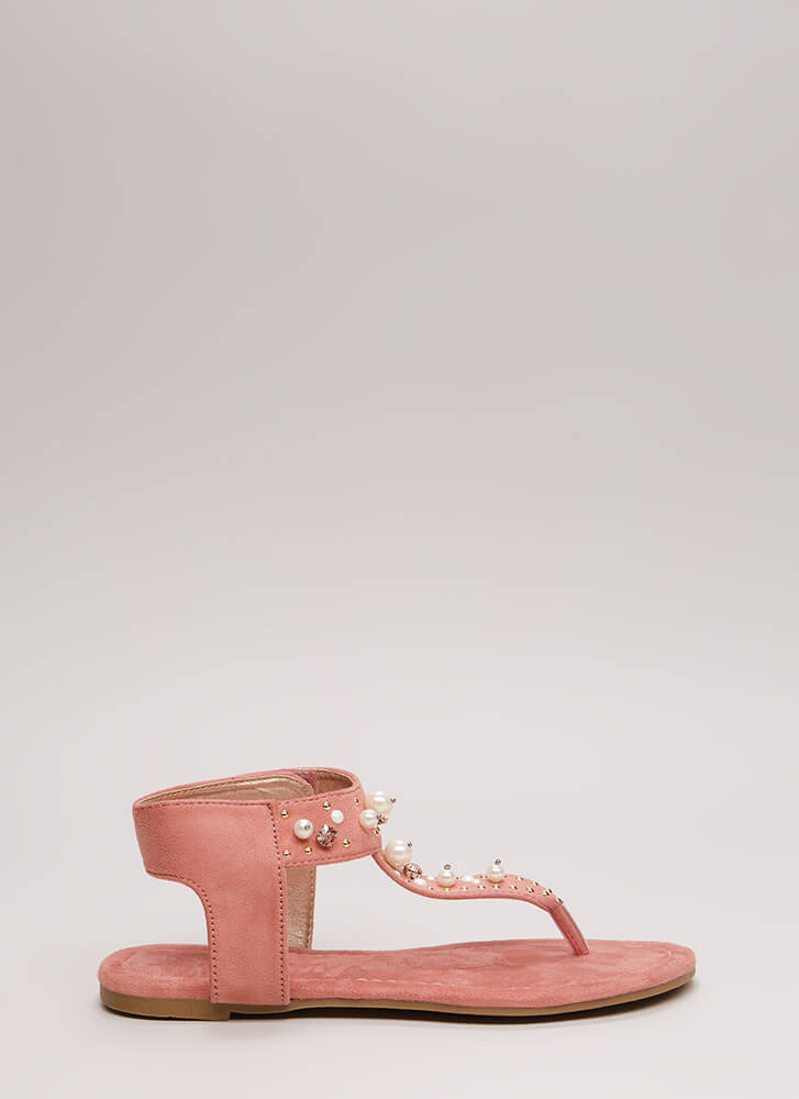 Pretty In Pearls Jeweled Cut-Out Sandals DUSTYPINK