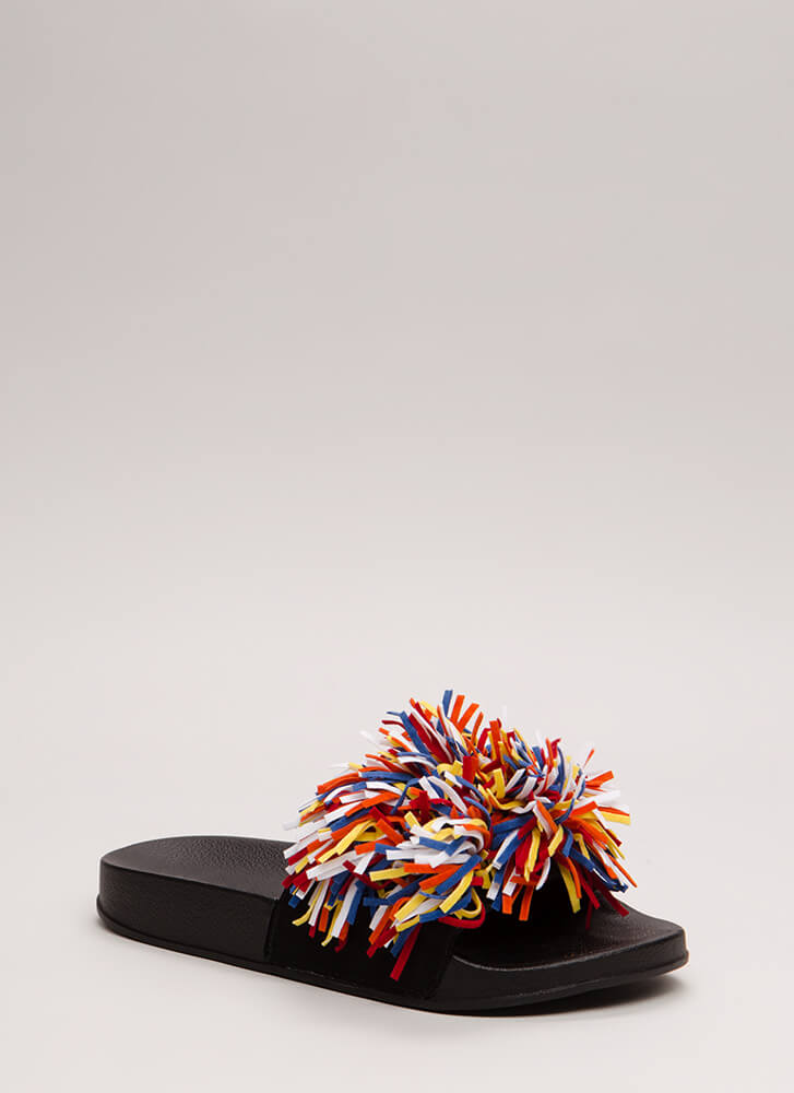 Festive In Fringe Platform Sandals BLACK
