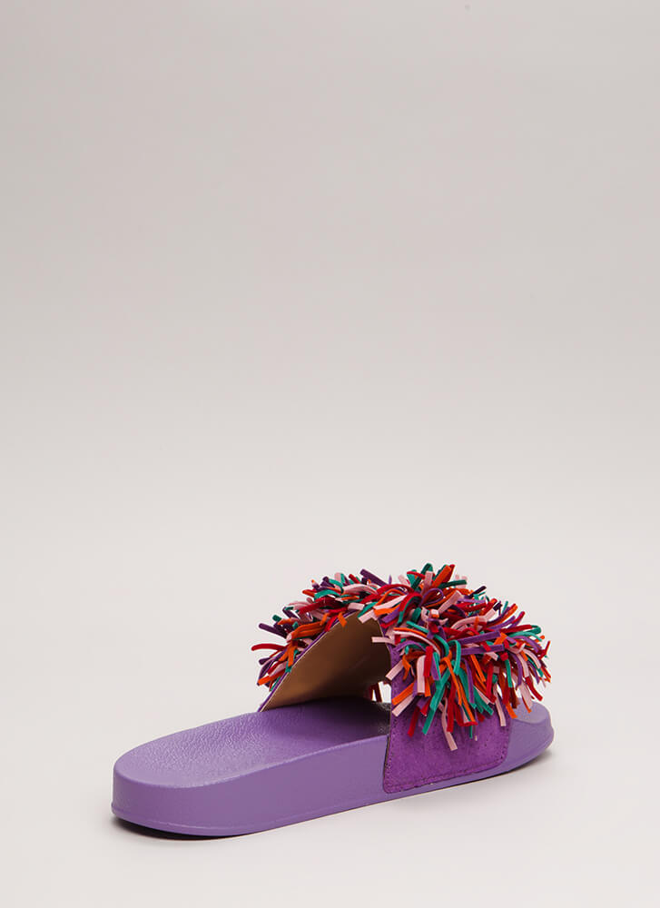 Festive In Fringe Platform Sandals PURPLE