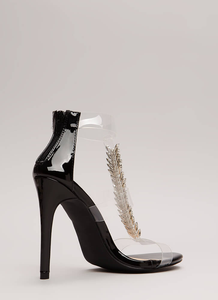 Fine Feather Jeweled Clear Strap Heels BLACK
