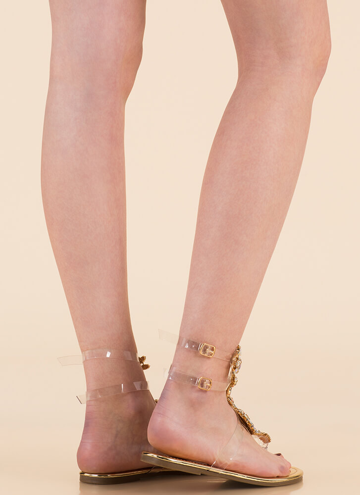 Clearly Blooming Shiny Jeweled Sandals GOLD