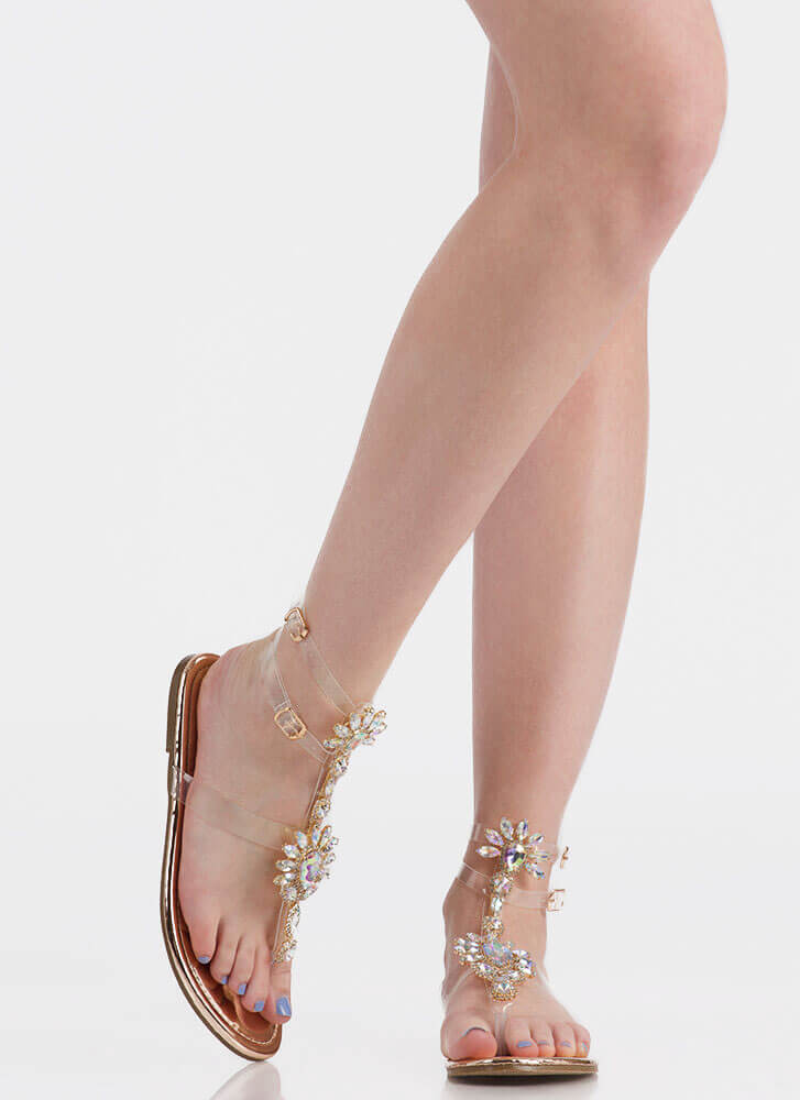 Clearly Blooming Shiny Jeweled Sandals ROSEGOLD