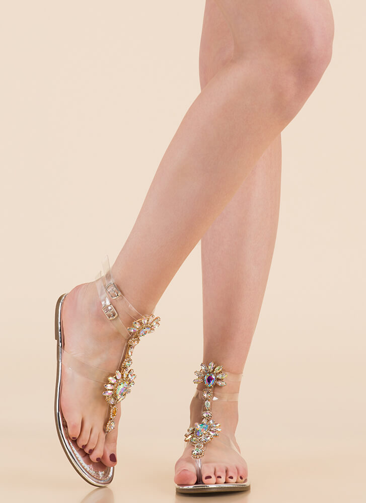 Clearly Blooming Shiny Jeweled Sandals SILVER