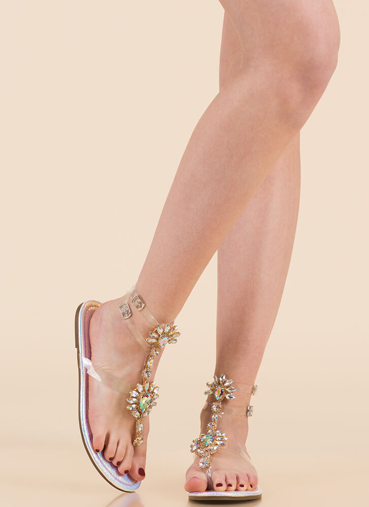 Clearly Blooming Scaled Jeweled Sandals PINK