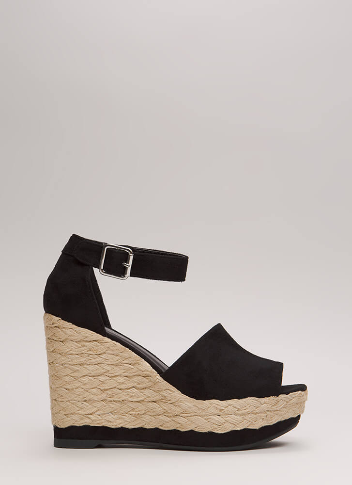 Better Braided Peep-Toe Platform Wedges BLACK
