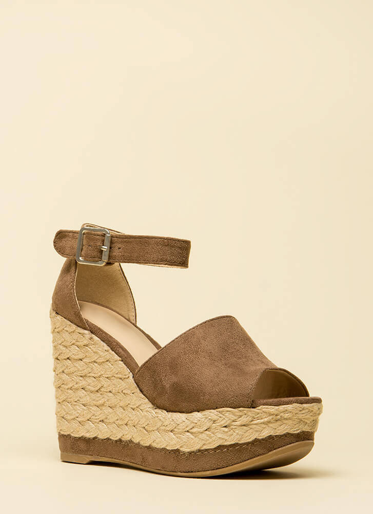 Better Braided Peep-Toe Platform Wedges TAUPE