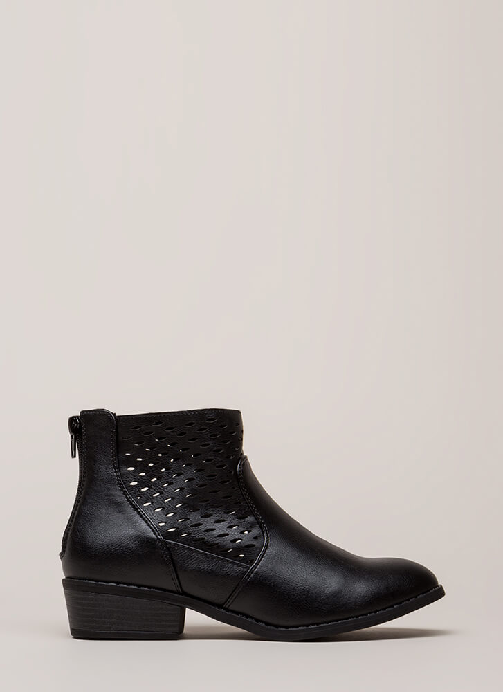 Holes In One Chunky Latticed Booties BLACK (You Saved $13)