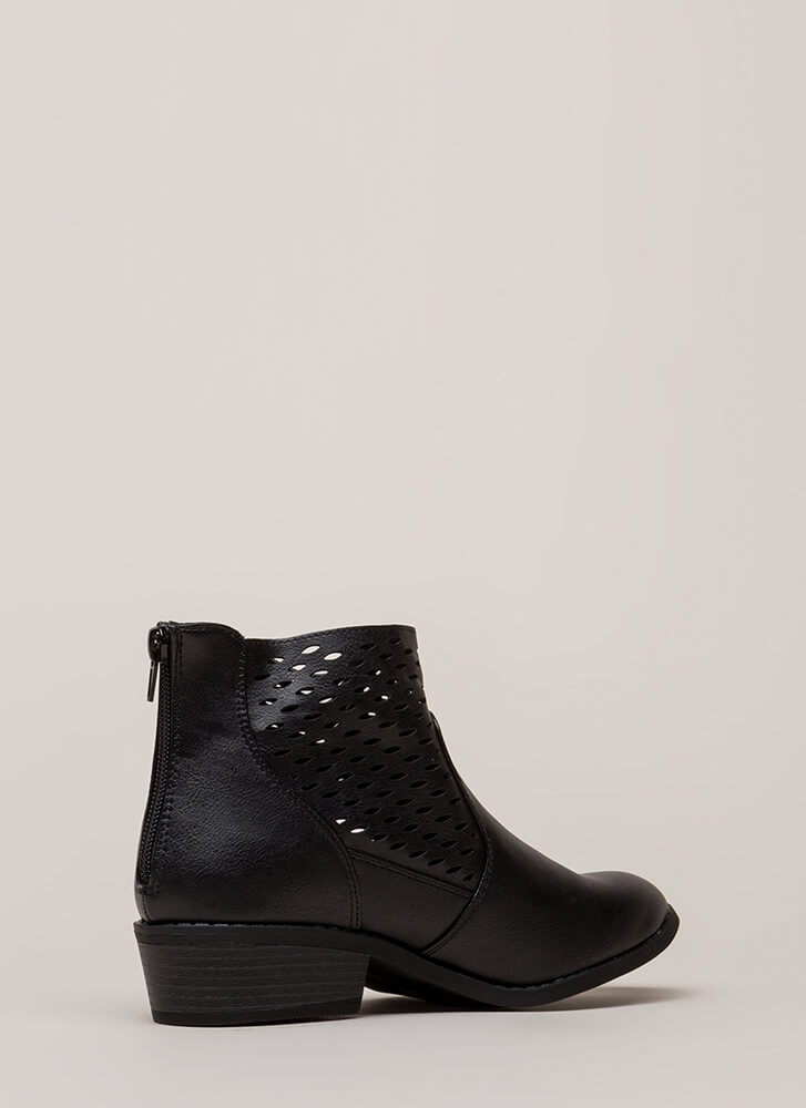 Holes In One Chunky Latticed Booties BLACK