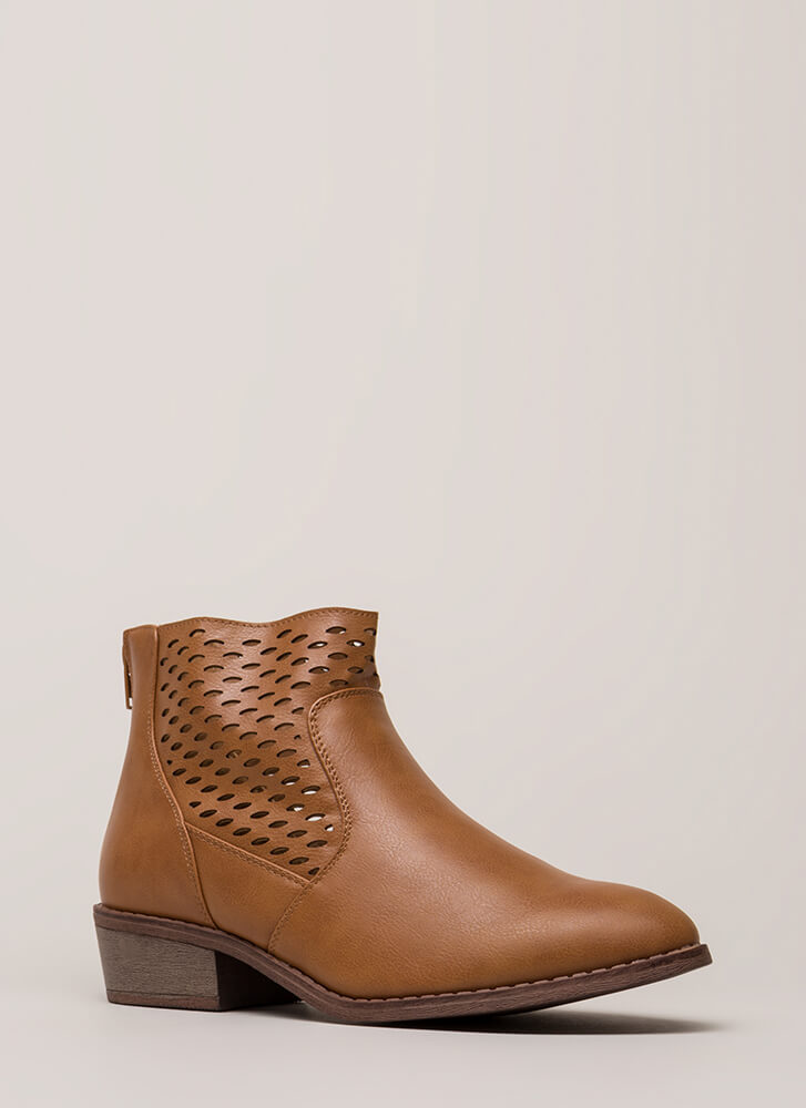 Holes In One Chunky Latticed Booties WHISKY