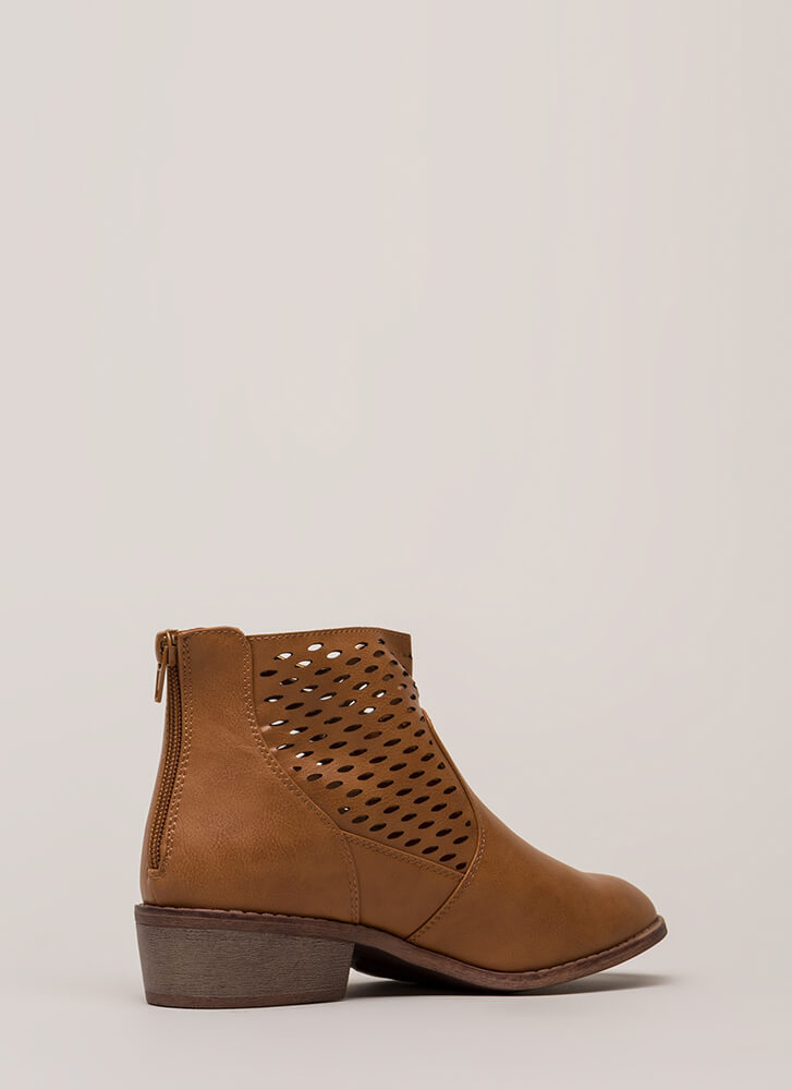 Holes In One Chunky Latticed Booties WHISKY (You Saved $13)