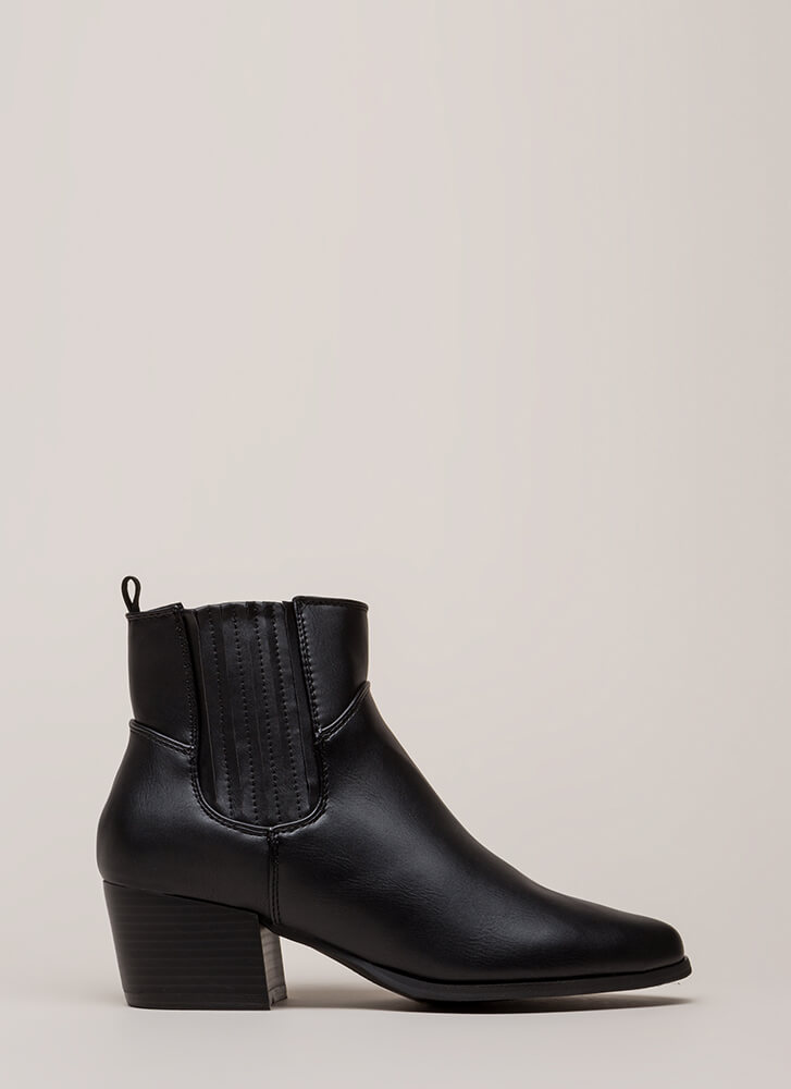Side By Side Chunky Block Booties BLACK