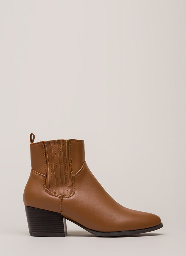 Side By Side Chunky Block Booties WHISKY